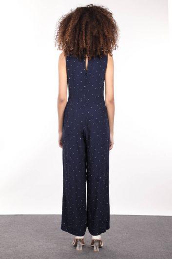 Navy Blue Star Patterned Wide Leg Women Jumpsuit - Thumbnail