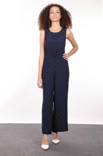 Женский комбинезон с широкими штанинами темно-синего цвета с рисунком звезд - Thumbnail