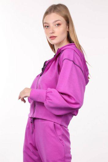MARKAPIA WOMAN - Neon Lila Fermuarlı Kapüşonlu Kadın Sweatshirt (1)