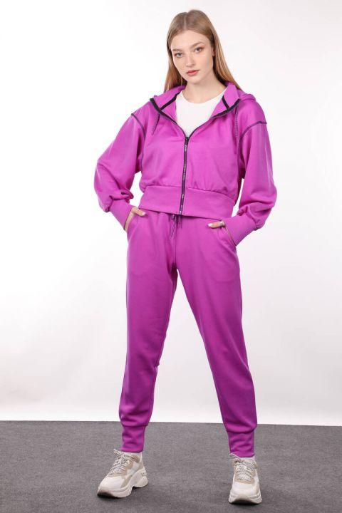 Neon Lila Fermuarlı Kapüşonlu Kadın Sweatshirt
