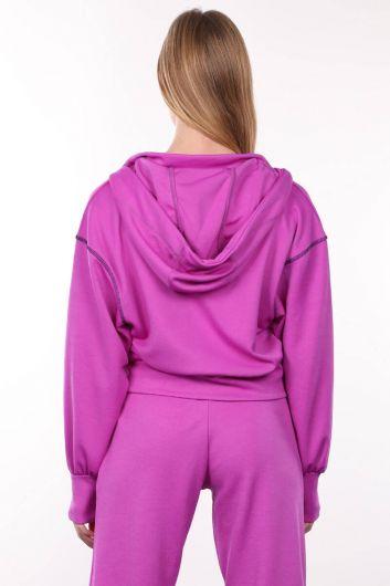 سويت شيرت بغطاء للرأس نيون ليلا للنساء - Thumbnail