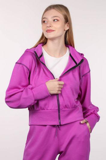 Толстовка женская с капюшоном Neon Lila Zipper - Thumbnail
