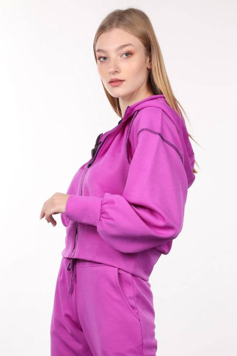 Толстовка женская с капюшоном Neon Lila Zipper