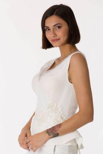 shecca - الخامس الرقبة بيضاء مساء اللباس البدلة (1)