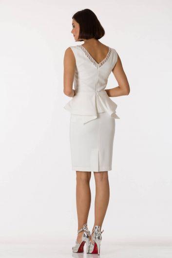 الخامس الرقبة بيضاء مساء اللباس البدلة - Thumbnail