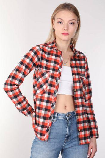 Multi Color Plaid Women Shirt - Thumbnail