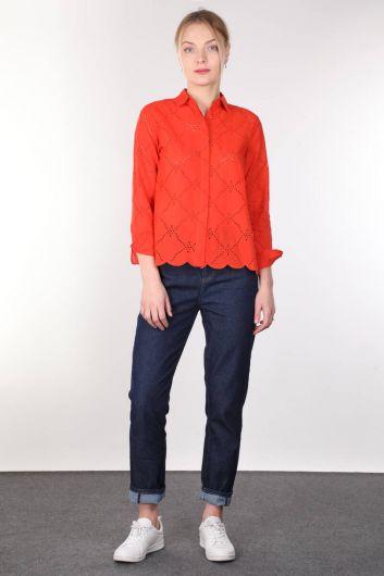 قميص نسائي برتقالي صدفي - Thumbnail