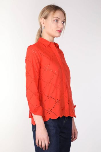 MARKAPIA WOMAN - Women's Orange Scalloped Shirt (1)