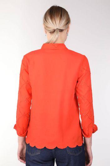 Women's Orange Scalloped Shirt - Thumbnail