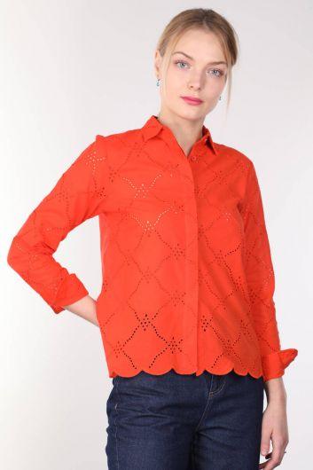 Женская оранжевая рубашка с зубчатым краем - Thumbnail