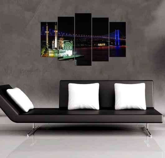 Ortaköy Işıklı Köprü Manzaralı 5 Parçalı Mdf Tablo - Thumbnail