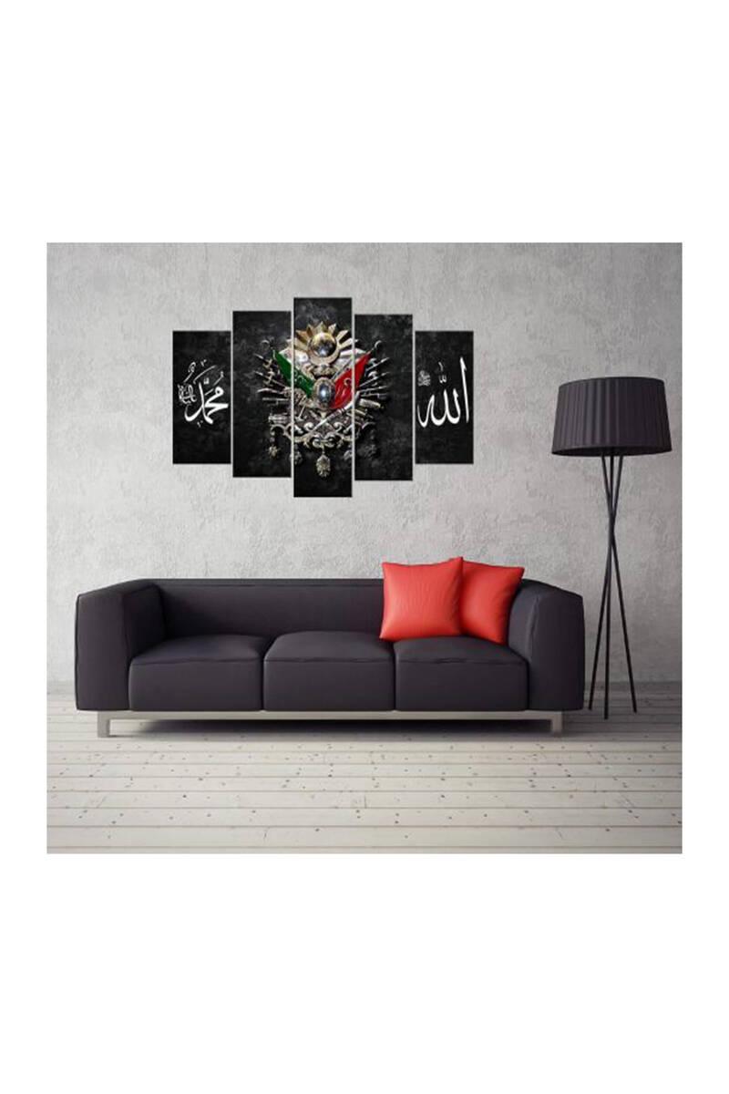 Osmanlı İmparatorluğu Arması 5 Parçalı Mdf Tablo-3252