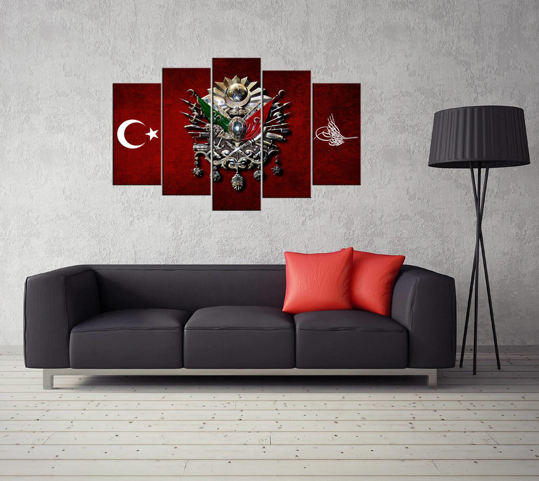 Osmanlı İmparatorluğu Arması 5 Parçalı Mdf Tablo-3353