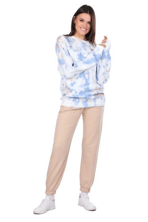 Oversize Batik Renkli Kadın Sweatshirt