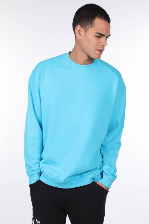 Oversize Mavi Erkek Bisiklet Yaka Sweatshirt