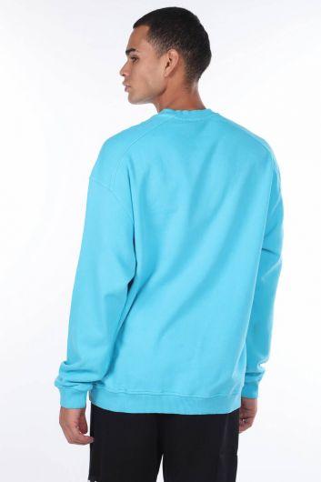 MARKAPIA MAN - Oversize Mavi Erkek Bisiklet Yaka Sweatshirt (1)