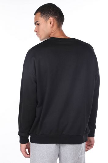 MARKAPIA MAN - Oversize Siyah Erkek Bisiklet Yaka Sweatshirt (1)