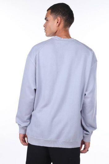 MARKAPIA MAN - Oversize Plain Lilac Men's Sweatshirt (1)