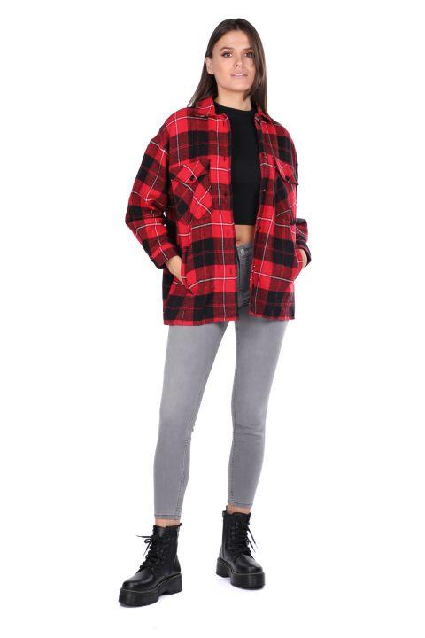 Oversize Kırmızı Kadın Ekose Gömlek