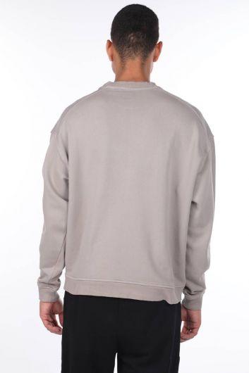 MARKAPIA MAN - Oversize Beige Men's Crew Neck Sweatshirt (1)