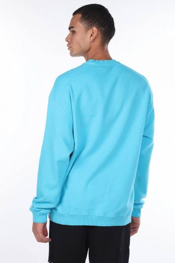 MARKAPIA MAN - Oversized Blue Men's Crew Neck Sweatshirt (1)