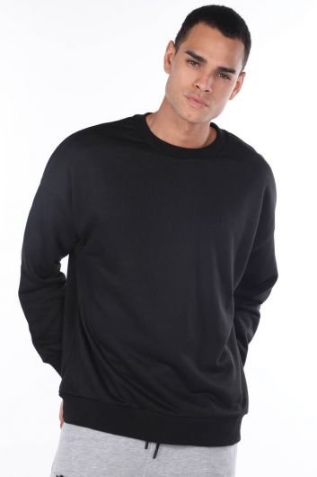Oversize Black Men's Crew Neck Sweatshirt - Thumbnail