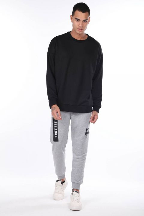 Oversize Black Men's Crew Neck Sweatshirt