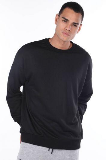 Черный мужской свитшот с круглым вырезом oversize - Thumbnail