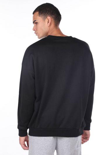 MARKAPIA MAN - Черный мужской свитшот с круглым вырезом oversize (1)
