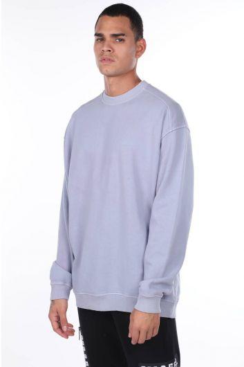 Oversize Lila Men's Crew Neck Sweatshirt - Thumbnail