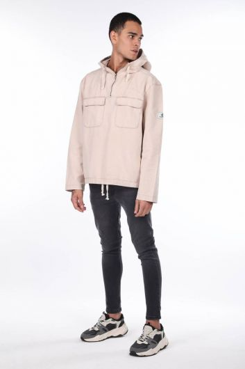 Oversize Hooded Jean Men's Sweatshirt - Thumbnail