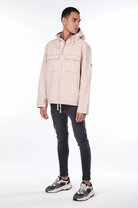 Oversize Hooded Jean Men's Sweatshirt
