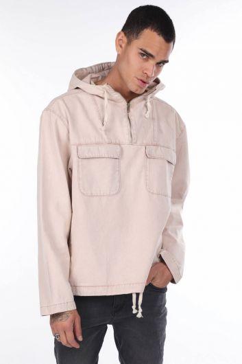 MARKAPIA MAN - Oversize Kapüşonlu Jean Erkek Sweatshirt (1)