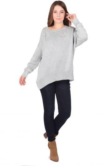 Oversized Crew Neck Knitwear Women Sweater - Thumbnail