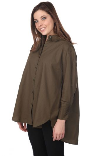 MARKAPIA WOMAN - ماركابيا قميص طويل كاكي كبير الحجم مستقيم (1)