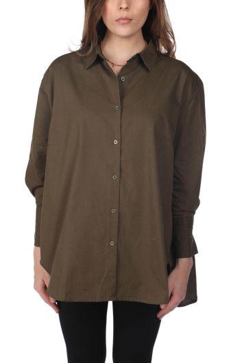 Длинная прямая рубашка цвета хаки Markapia Oversize - Thumbnail
