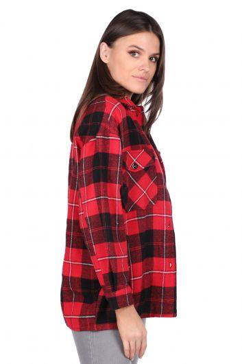 MARKAPIA WOMAN - قميص نسائي أحمر منقوش كبير الحجم (1)