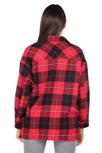 قميص نسائي أحمر منقوش كبير الحجم - Thumbnail