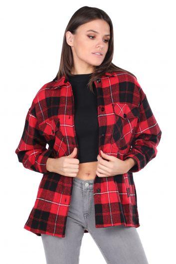 Oversize Red Women's Plaid Shirt - Thumbnail