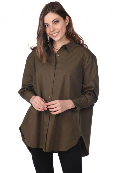 Markapia Oversize Haki Uzun Düz Gömlek