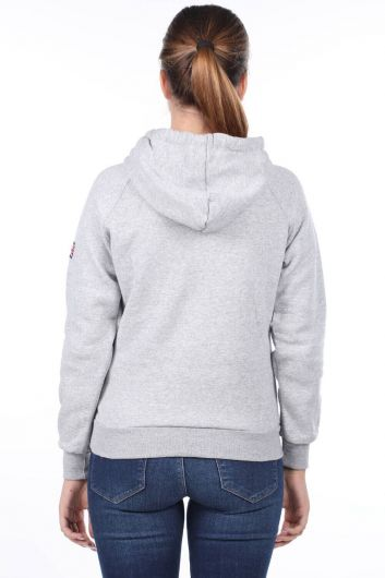 Oxford Aplikeli Cepli İçi Polarlı Kapüşonlu Kadın Sweatshirt - Thumbnail