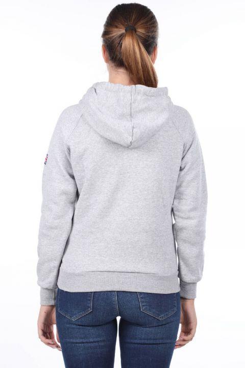 Oxford Aplikeli Cepli İçi Polarlı Kapüşonlu Kadın Sweatshirt