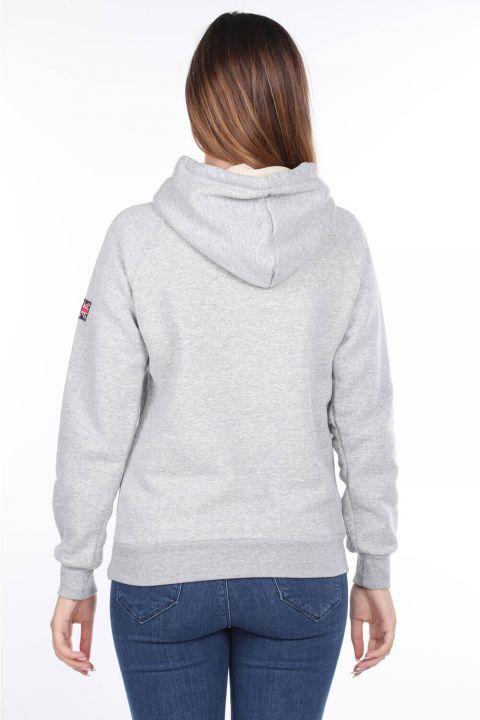 Oxford Aplikeli Gri İçi Polarlı Kapüşonlu Kadın Sweatshirt
