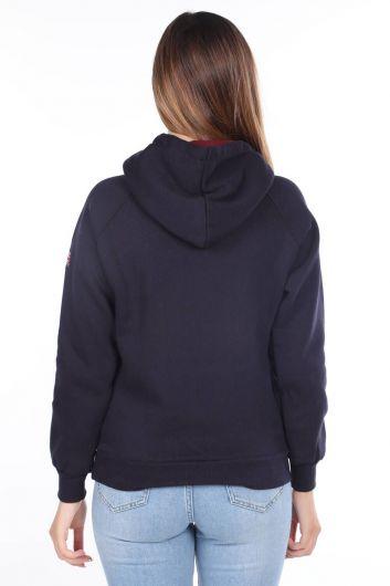 MARKAPIA WOMAN - Oxford Aplikeli İçi Polarlı Kapüşonlu Kadın Sweatshirt (1)
