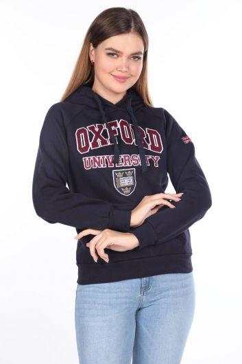 Женская флисовая толстовка с капюшоном с аппликацией Oxford - Thumbnail