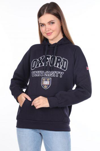 Темно-синий женский свитшот из флиса с капюшоном и оксфордскими аппликациями - Thumbnail