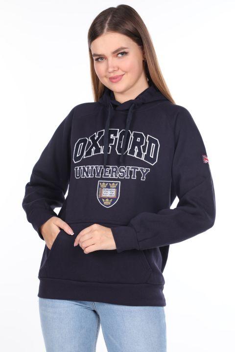 Темно-синий женский свитшот из флиса с капюшоном и оксфордскими аппликациями