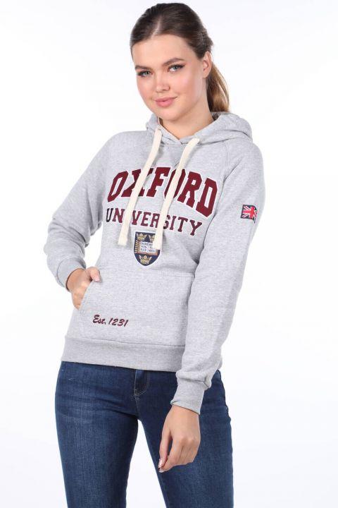 Женская флисовая толстовка с капюшоном и аппликацией из оксфорда с карманами и капюшоном