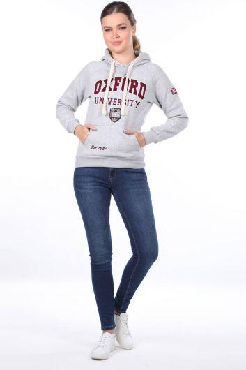 Женская флисовая толстовка с капюшоном и аппликацией из оксфорда с карманами и капюшоном - Thumbnail