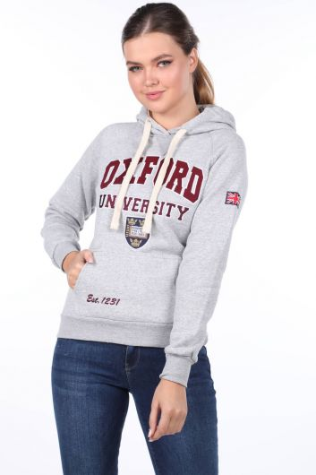 Women's Oxford Applique Pocket Fleece Hooded Sweatshirt - Thumbnail
